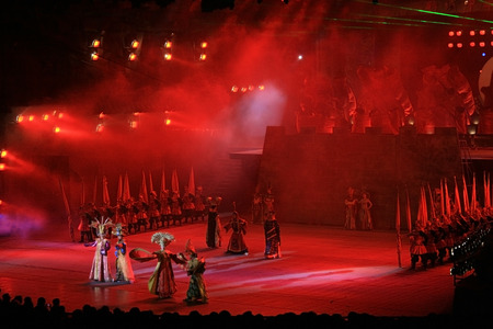 Shenzhen, China - March 2, 2011 - A stage performance at Splendid China theme park Editorial