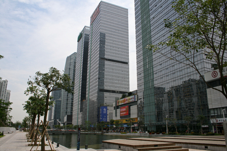 coastal city: Shenzhen, China - April 27,2010 - Hi-rise ofice towers at Nanshan Coastal City