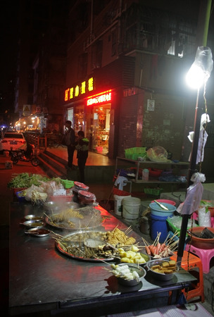 Shenzhen, China - January 20, 2015 - A street food stall selling Hot Pot in Pingzhou, Baoan, Shenzhen, China