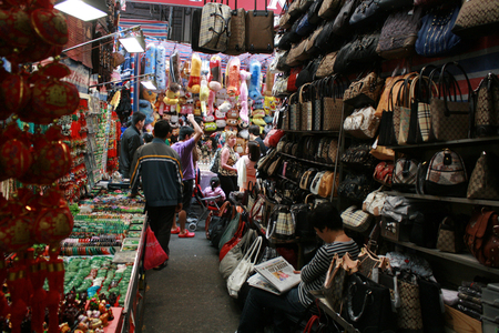 Hong Kong, China - December 21, 2010 - The view from a vendors stall at the Ladies Market - a street market in Hong Kong
