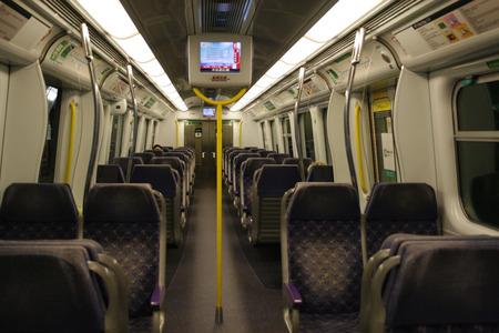Hong Kong, China - June 7, 2010 - An empty first class carriage on the Hong Kong East Rail line MTR Train