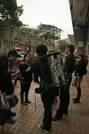 Hong Kong, China - April 8, 2010 - A Starbucks promotion on the streets of Hong Kong