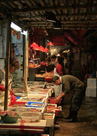 Hong Kong, China - April 9, 2010 - Street Market (Wet market) nearTemple St Editorial
