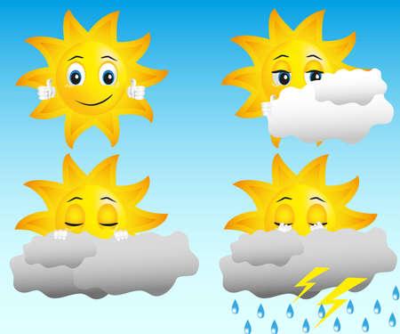 zon in verschillende weersomstandigheden: zonnig, bewolkt, regen, donder en bliksem