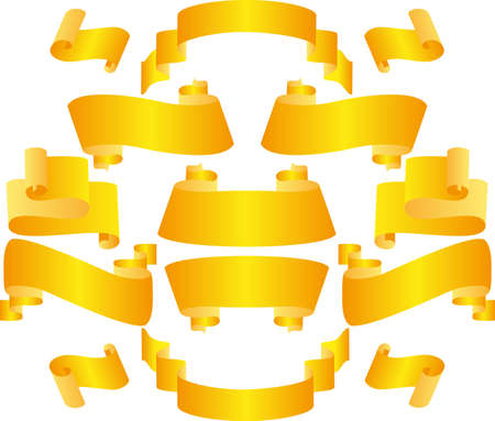 curved ribbon: banners and ribbons of yellow on a white background