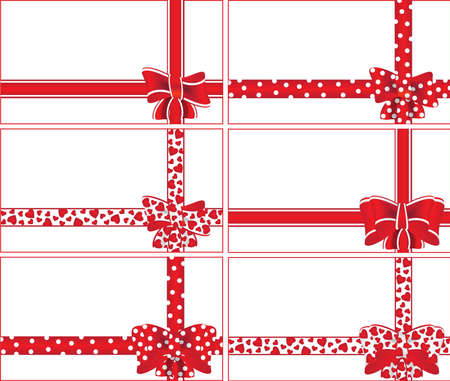 satin round: set of red ribbons with packaging design ornaments for gifts vector