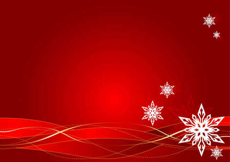Christmas background with snowflakes on red background Illustration