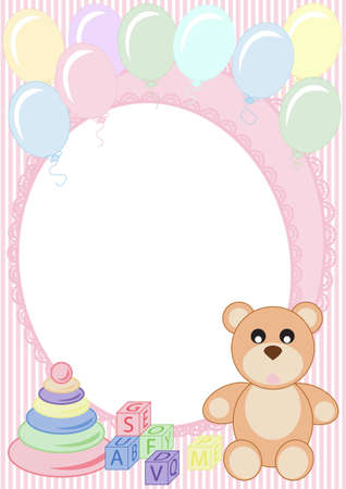 congratulations on a striped background with a teddy bear and balloons Stock Vector - 11809026