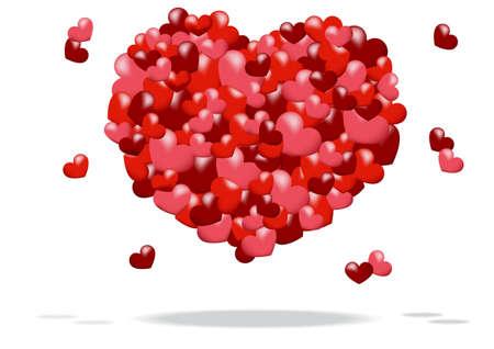 resumen de antecedentes de un coraz�n formado por corazones rojos y rosados Vectores