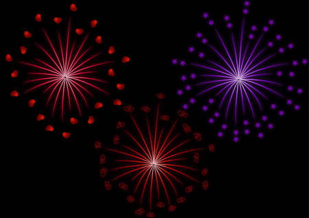 Fireworks set to glow with hearts and stars on a black background Illustration