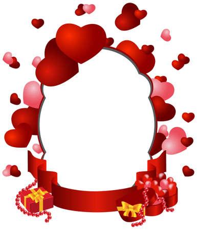 tarjeta de felicitaci�n con ilustraci�n vectorial corazones y regalos Vectores