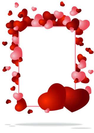 fondo de felicitaci�n con dos corazones ilustraci�n vectorial