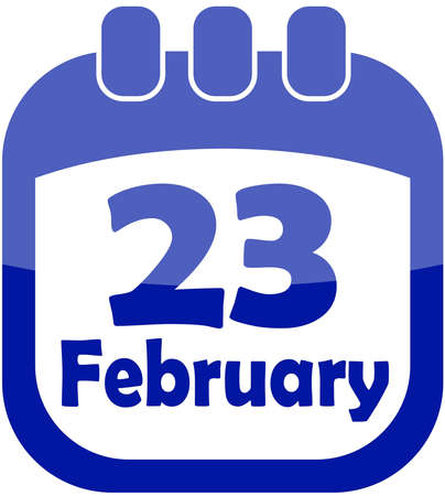 icon for February 23 in a calendar vector illustration Illustration
