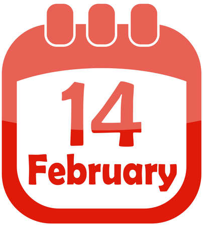 number 14: icon of Valentine Day in a calendar illustration