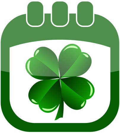 icon St Patrick Day in a calendar with shamrock vector illustration Stock Vector - 12182628