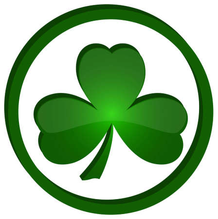 tr�bol verde como s�mbolo de D�a de San Patricio Aislado sobre fondo blanco Vectores