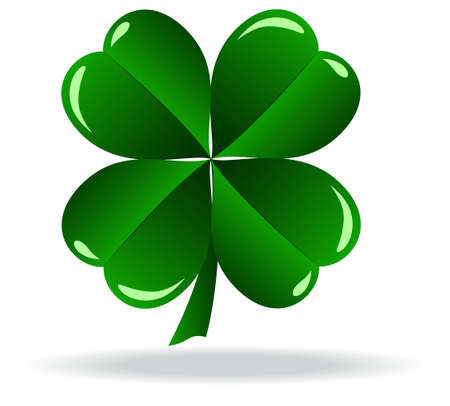 green shamrock as a symbol of St Patricks Day Isolated on white background