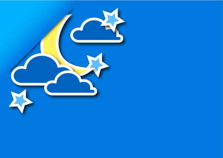 abstraction of the moon the stars and clouds on a blue background Vector