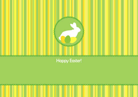 was born: Easter greeting card with a hare on the striped background with place for text