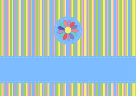 was born: greeting card flower on a striped background with place for text Illustration