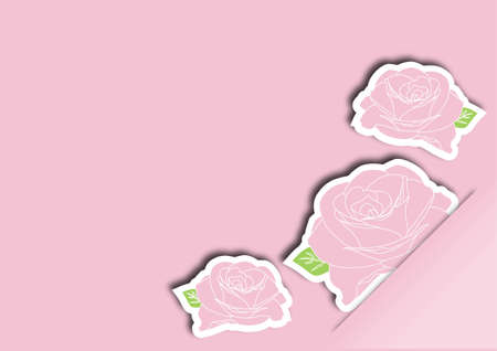 Greeting card with pink roses vector illustration