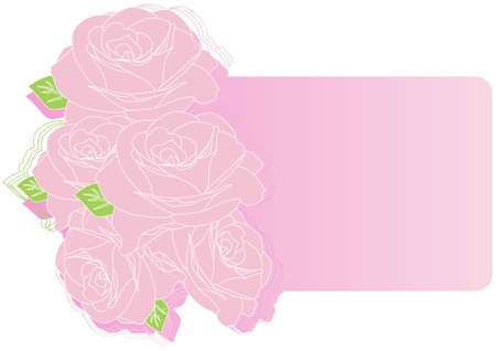 Greeting card with pink roses vector illustration Stock Vector - 12478069