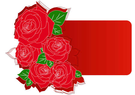 Greeting card with red roses vector illustration Stock Vector - 12478066