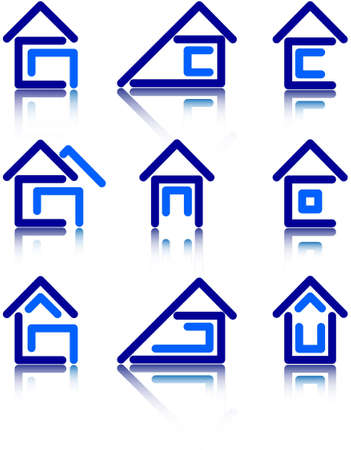 a set of icons in the form of house construction Vector