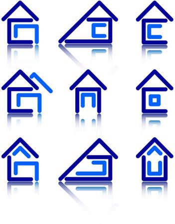 un conjunto de iconos en forma de construcci�n de viviendas