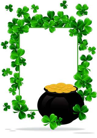 holy leaves: Greeting Card St Patrick Day vector illustration Illustration