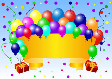 Greeting card with balloons and confetti vector illustration