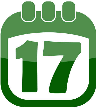 march 17: icon of March 17 in a calendar vector illustration