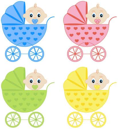 recien nacido: colecci�n de cochecitos de beb� en la ilustraci�n vectorial diferentes colores
