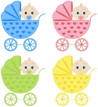 newborn baby girl: collection of baby carriages in different colors vector illustration