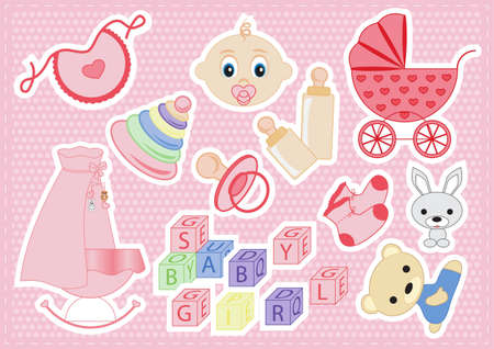 baby elements of a girl on a pink background vector illustration