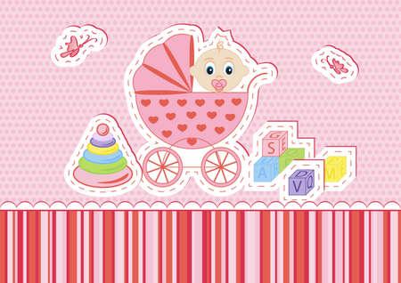 Los ni�os postal para una chica en una ilustraci�n de fondo vector de color rosa