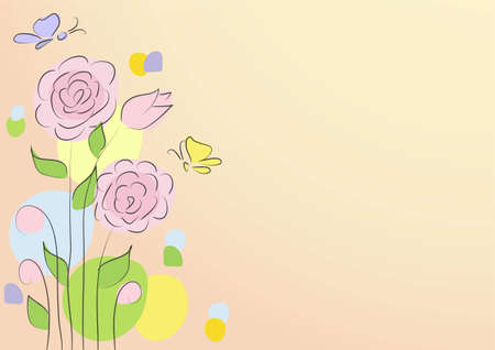 Greeting Card with roses on a light background Vector