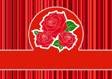 Greeting card with red roses Stock Vector - 13028488