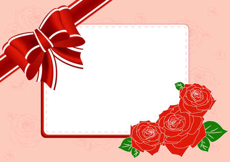 Greeting Card with roses, a bow and place for text Vector