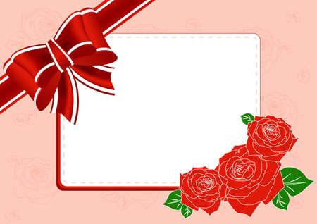 Tarjeta de felicitaci�n con rosas, un arco y el lugar de texto