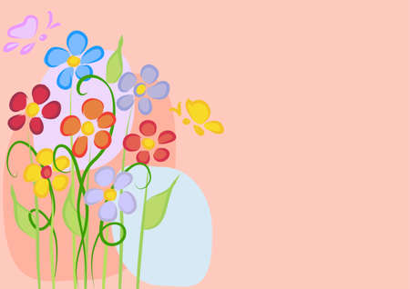 Greeting card with daisies on a pink background Vector