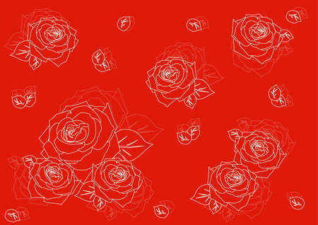 seamless background with silhouettes of roses Vector
