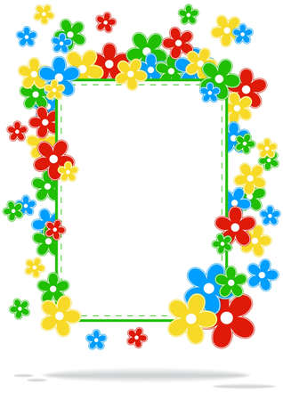 greeting card with colored flowers and place for text on a white background with shadow Stock Vector - 13169273