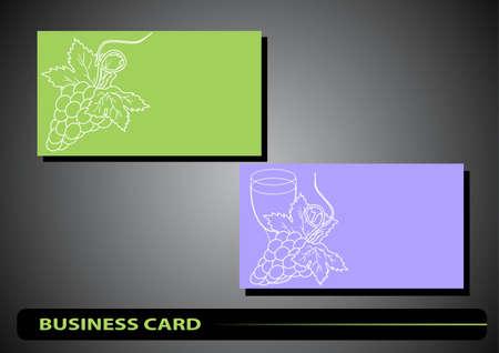 tarjeta de visita con una silueta de las uvas y una copa de vino sobre un fondo de color