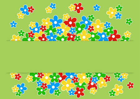 greeting card with colored flowers on a green background with place for text
