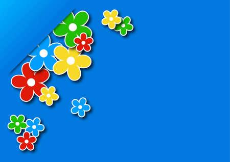 tarjeta de felicitaci�n con flores de colores en una ilustraci�n de fondo vector azul