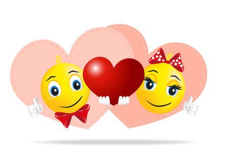 smiley pouce: Smileys amour sont conserv�s dans les mains du c?ur comme un gage d'amour Illustration