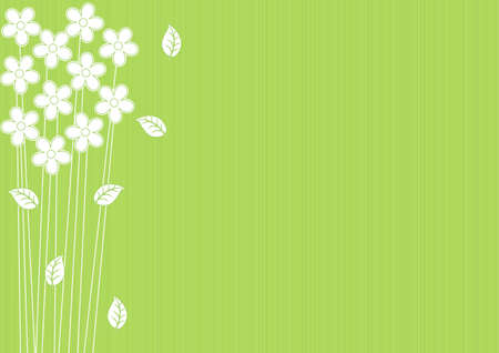 abstract green background with white flowers and leaves Stock Vector - 13529390
