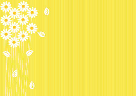 abstract yellow background with daisies and leaves Stock Vector - 13529391