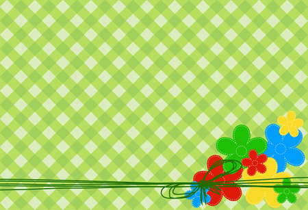 greeting card with colored flowers tied with a bow on a green background in the cell Stock Vector - 13529389